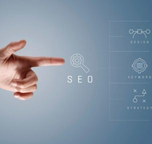 Finger pointing at key components of SEO