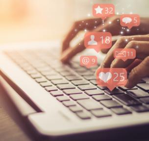 social media like appearing on screen